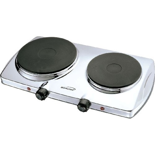 Brentwood TS-372 Appliances 1, 440W Electric double Hot Plate, Silver
