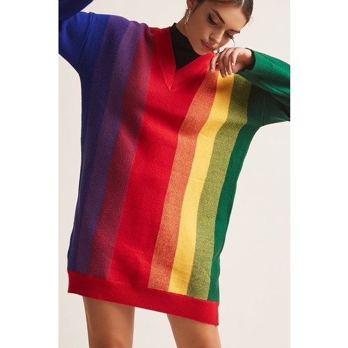 Longline Rainbow Stripe Sweater