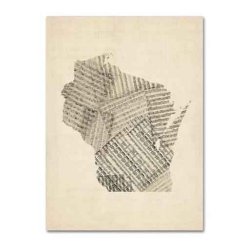 Trademark Fine Art ''Old Sheet Music Map of Wisconsin'' by Michael Tompsett 24