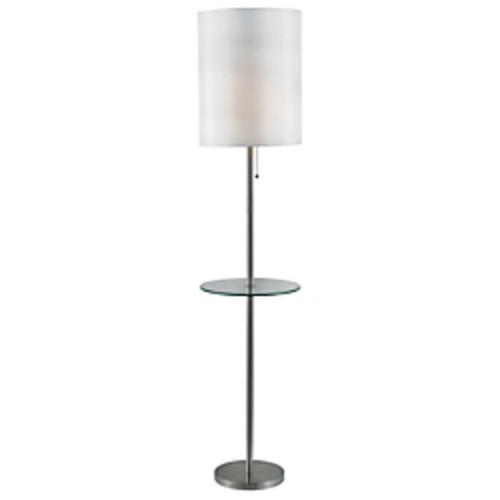 Kenroy Home Exhibit 65 in. Brushed Steel Floor Lamp with Table