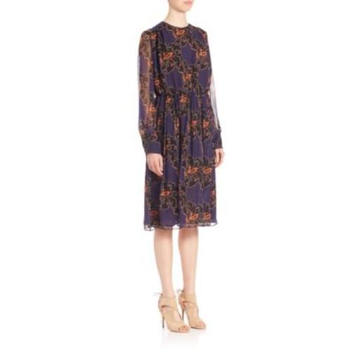 MSGM Silk Floral-Print Dress