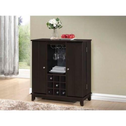 Baxton Studio Derremer Bar Cabinet in Dark Brown