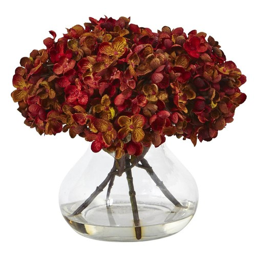 Nearly Natural Hydrangea with Vase Silk Flower Arrangement