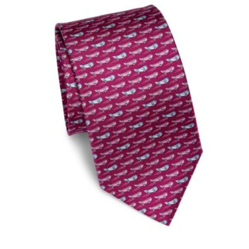 SALVATORE FERRAGAMO Whale Patterned Silk Tie