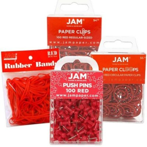 JAM Paper Office Supply Assortment, 1 pack Rubber Bands, Push Pins, Paper Clips, Round Paperclips, Red, 4/pack (3224REOASRT)