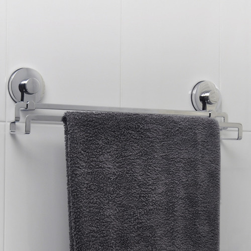 Everloc Solutions Stainless Steel Suction Cup Twin Bar Towel Rail