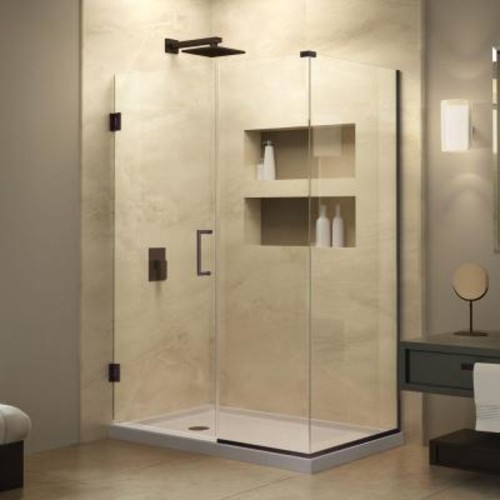 DreamLine Unidoor Plus 34-3/8 in. x 29-1/2 in. x 72 in. Hinged Shower Enclosure with Hardware in Oil Rubbed Bronze