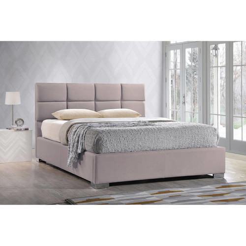 Sophie Modern and Contemporary Beige Fabric Upholstered Queen Size Platform Bed