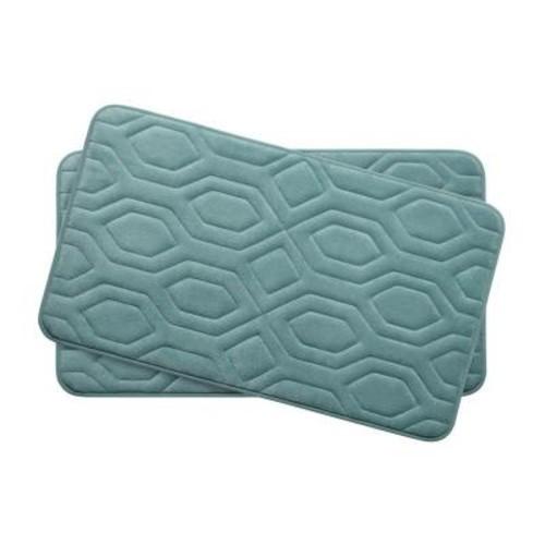 BounceComfort Turtle Shell Marine Blue 17 in. x 24 in. Memory Foam 2-Piece Bath Mat Set