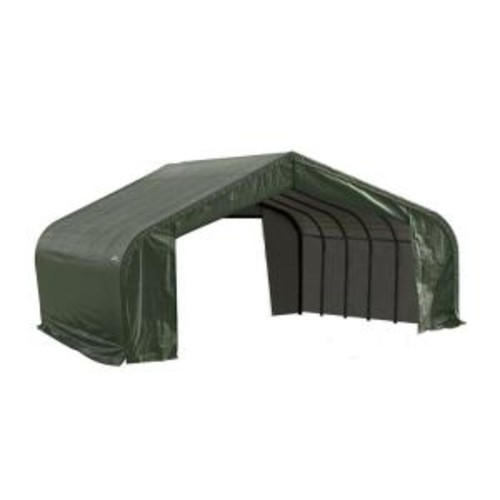 ShelterLogic 22 ft. x 20 ft. x 12 ft. Green Steel and Polyethylene Garage without Floor
