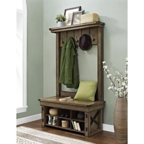Altra Furniture Altra Wildwood Wood Veneer Entryway Hall Tree With Storage Bench, Rustic Gray