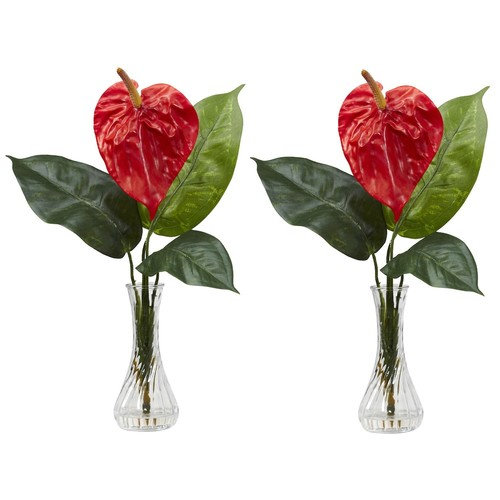 Nearly Natural 14.5 in. H Red Anthurium with Bud Vase Silk Flower Arrangement (Set of 2)