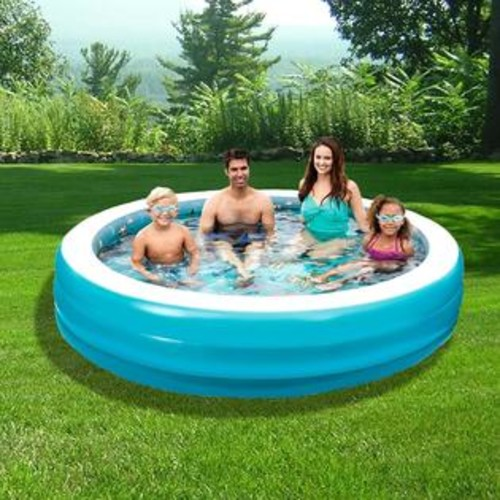 Blue Wave 3D Inflatable Round Family Pool - 7.5 feet