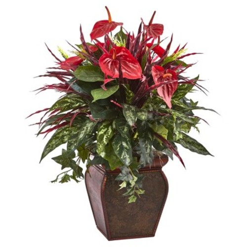 Anthurium Mixed Plant with Planter - Nearly Natural