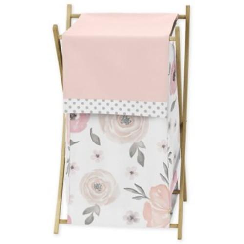 Sweet Jojo Designs Watercolor Floral Laundry Hamper in Pink/Grey