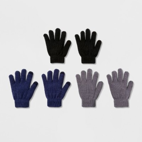 Boys' 3 Pack Solid Gloves With 2 Finger Tech Touch - Cat & Jack Multi-Colored One Size