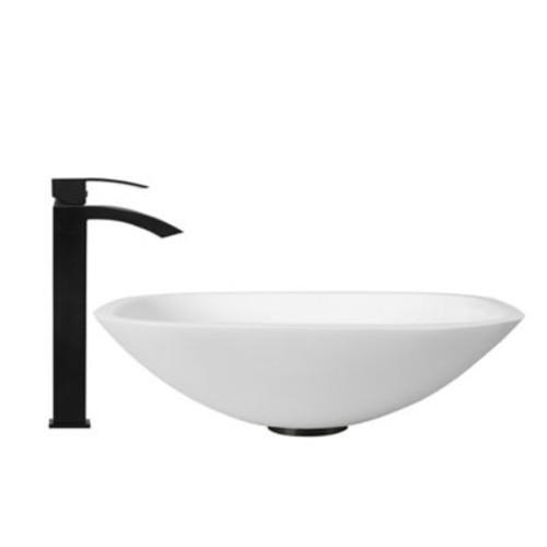 Vigo VGT437 Phoenix Square Stone Sink and Vessel Duris Faucet Set in Matte Black