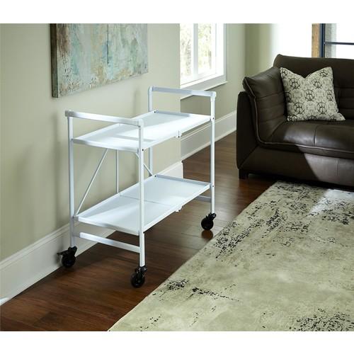 Cosco Home and Office Products White Metal Shelf Folding Serving Cart