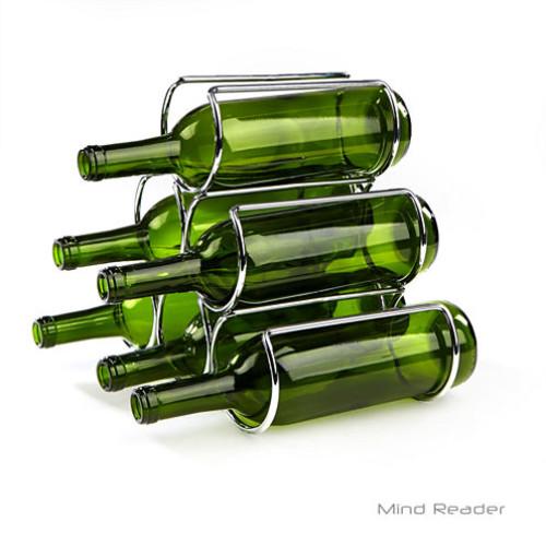Mind Reader Steel-Framed Wine Bottle Holder WINEPYR-SIL