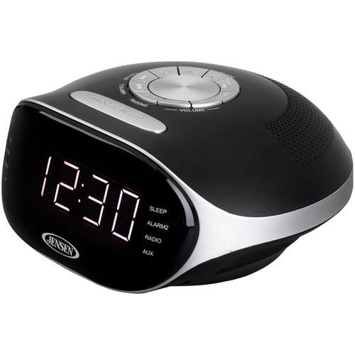 JENSEN - AM/FM Dual-Alarm Clock Radio - Silver/black