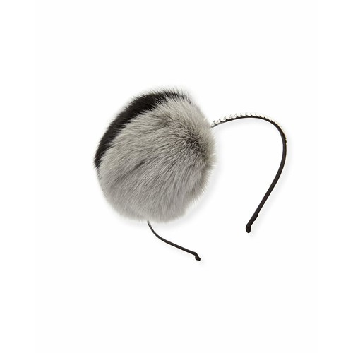 Girls' Rhinestone & Fox Fur Headband, Multicolor