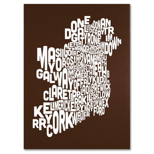 Trademark Global Michael Tompsett 'Ireland Text Map - Chocolate' Canvas Art [Overall Dimensions : 18x24]