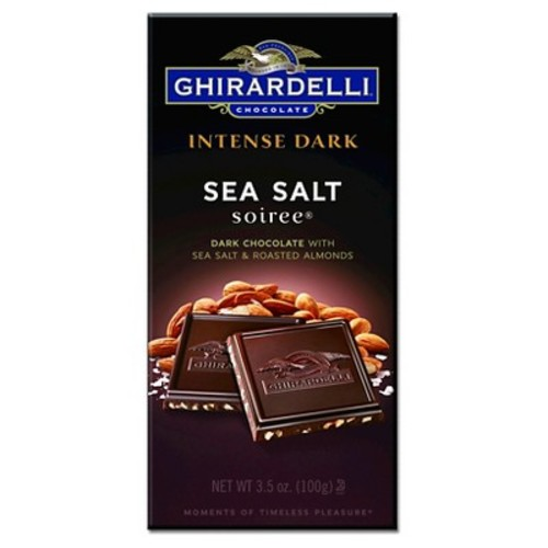 Ghirardelli Intense Dark Chocolate w/ Sea Salt and Roasted Almond Squares 3.5 oz