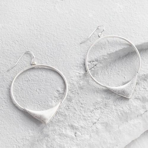 Silver Triangle Hoop Drop Earrings