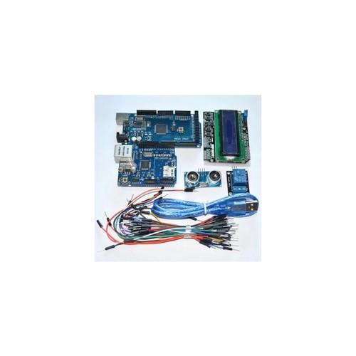 Mega 2560 r3 for arduino kit + HC-SR04 +breadboard cable + relay module+ W5100 UNO shield + LCD 1602 Keypad shield