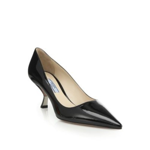 PRADA Curve-Heel Patent Leather Pumps