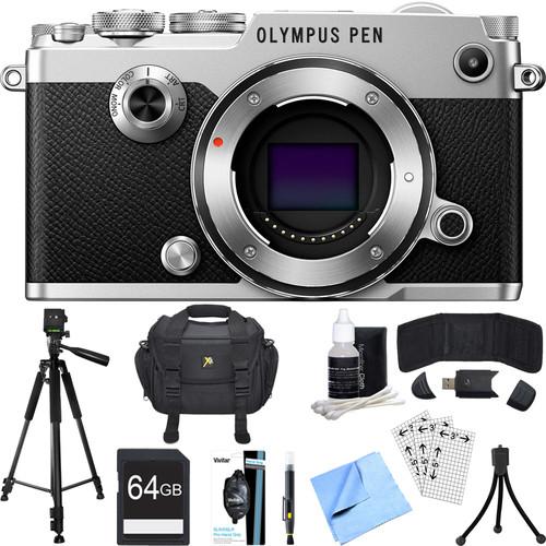 Olympus PEN-F 20MP Mirrorless Micro Four Thirds Digital Camera (Silver) Accessory Bundle
