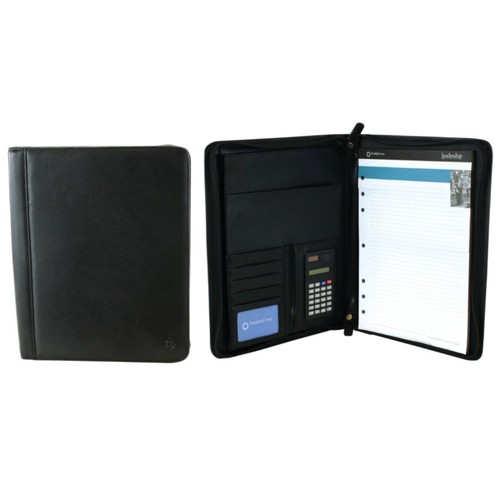 Office Depot Brand Leather Padfolio, Black