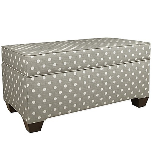 Skyline Furniture Storage Bench in Nova Birch/Ikat Dots