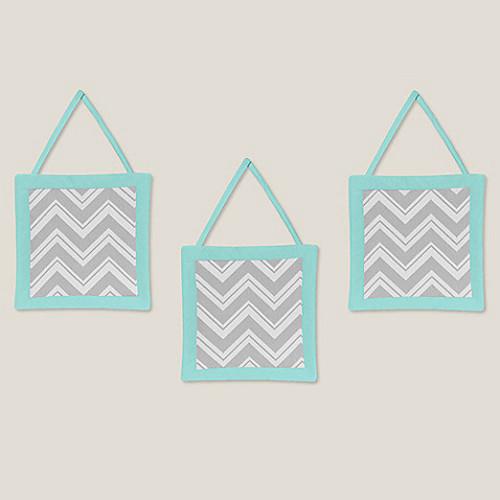 Sweet Jojo Designs Zig Zag Chevron 3-Piece Wall Hanging Set in Turquoise/Grey