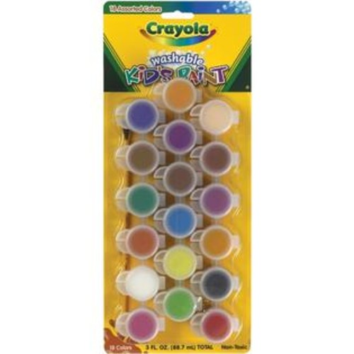Crayola -Set includes 18 colors of washable kids paint and a paintbrush. Paint comes in individual pots. For ages 4 and up.