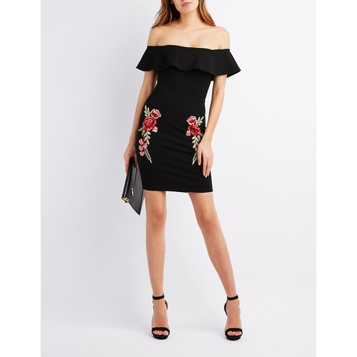 Embroidered Off-The-Shoulder Ruffle Dress