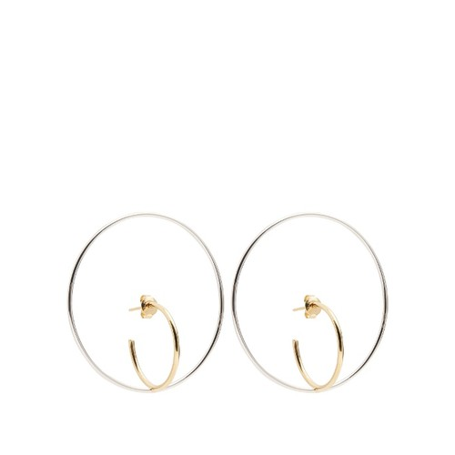 Saturn large silver and gold-plated earrings