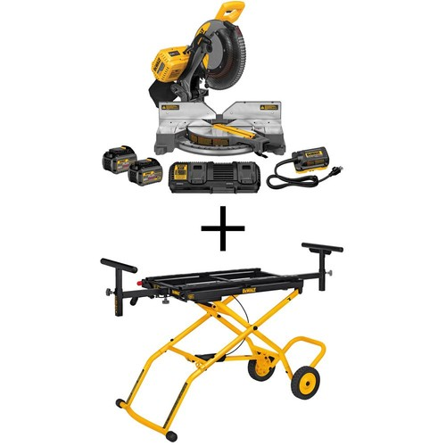 DEWALT FLEXVOLT 120-Volt MAX Lithium-Ion Cordless Brushless 12 in. Miter Saw w/ AC Adapter, Batteries, Charger and Bonus Stand