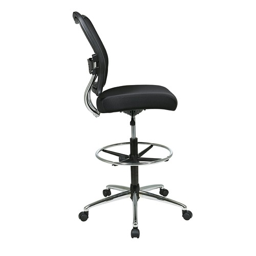 SPACE Seating Deluxe AirGrid Back with Mesh Seat, Adjustable Footring, Pneumatic Seat Height Adjustment and Chrome Finish Base Drafting Chair, Black [black, Pneumatic Seat Height]