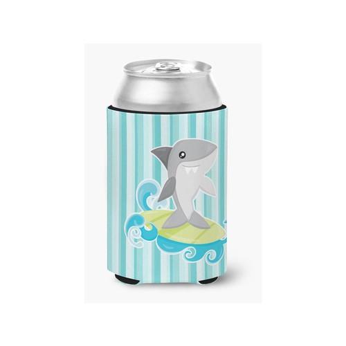 Surfin Shark on Stripes Can or Bottle Hugger BB6942CC