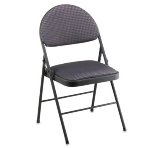 Cosco Oversized Upholstered Metal Folding Chair in Black