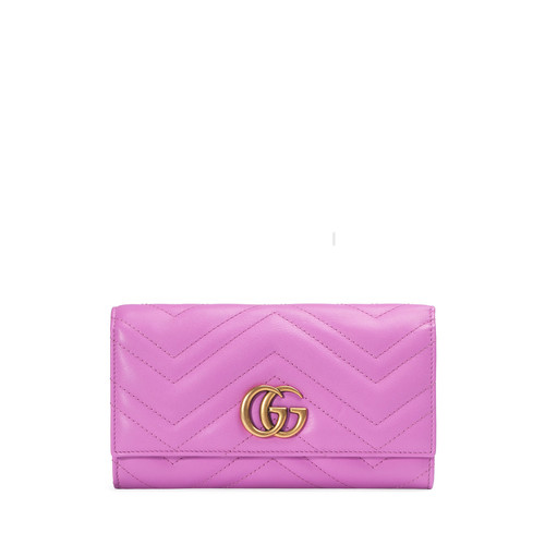 GUCCI Gg Marmont 2.0 Medium Quilted Flap Wallet, Bright Pink