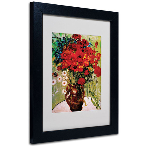 Trademark Global Vincent van Gogh 'Daisies and Poppies' Matted Framed Art [Overall Dimensions : 16x20]