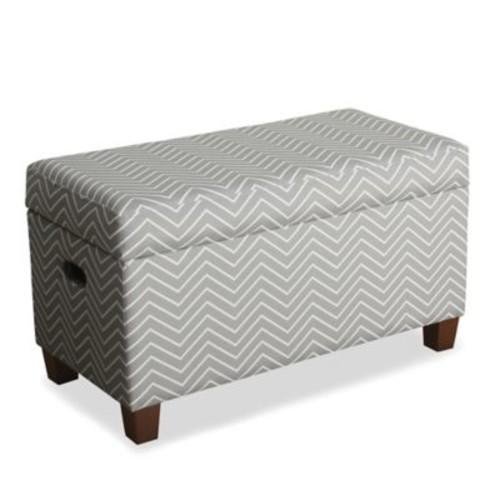 KinFine HomePop Cameron Storage Bench in Chevron Grey