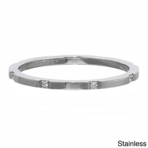 BIG Jewelry Co Stackable Ring with Cubic Zirconia Accent in Stainless Steel