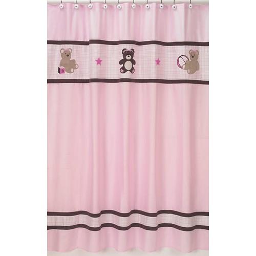 Sweet Jojo Designs Teddy Bear Pink Collection Shower Curtain