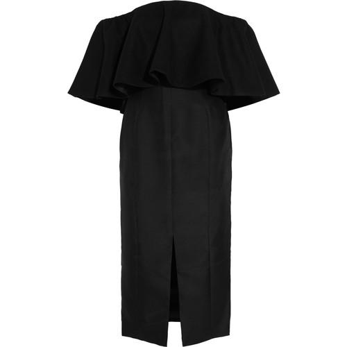 Gina ruffled off-the-shoulder duchesse-satin dress