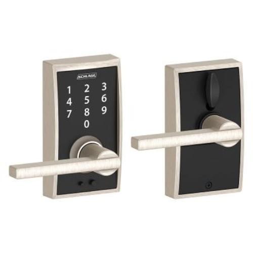 Schlage Touch Keyless Touchscreen Century Trim Satin Nickel Lock with Latitude Lever