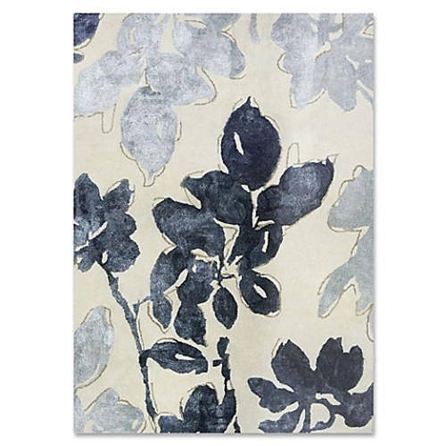 Ivory Blue Floral Wool and Viscose 5-Foot x 7-Foot Area Rug