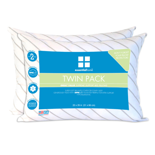 Essential Home Twin-pack Standard Pillows  20 x 26